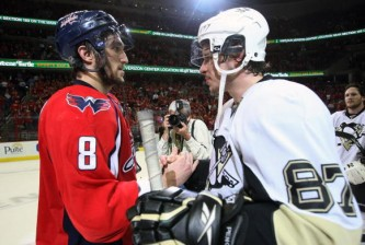 WASHINGTON - MAY 13: Alex Ovechkin #8 of the Washington Capitals and Sidney Crosby #87 of the Pittsburgh Penguins shake hands after Pittsburgh's 6-2 victory in Game Seven of the Eastern Conference Semifinal Round of the 2009 Stanley Cup Playoffs at Verizon Center May 13, 2009 in Washington, DC. (Photo by Bruce Bennett/Getty Images)