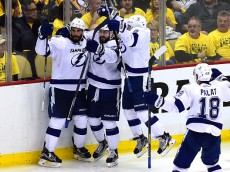 PITTSBURGH, PA - MAY 22:  Tyler Johnson #9 of the Tampa Bay Lightning celebrates with his teammates after scoring the game winning goal in overtime against Marc-Andre Fleury #29 of the Pittsburgh Penguins in Game Five of the Eastern Conference Final with a score of 4 to 3 during the 2016 NHL Stanley Cup Playoffs at Consol Energy Center on May 22, 2016 in Pittsburgh, Pennsylvania.  (Photo by Matt Kincaid/Getty Images)