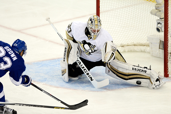 TAMPA, FL - MAY 24:  Matt Murray #30 of the Pittsburgh Penguins makes a kick save against J.T. Brown #23 of the Tampa Bay Lightning during the first period in Game Six of the Eastern Conference Final during the 2016 NHL Stanley Cup Playoffs at Amalie Arena on May 24, 2016 in Tampa, Florida.  (Photo by Jason Behnken/Getty Images)