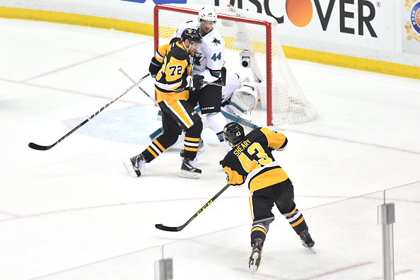 PITTSBURGH, PA - MAY 30: Conor Sheary #43 of the Pittsburgh Penguins scores a first period goal against Martin Jones #31 of the San Jose Sharks in Game One of the 2016 NHL Stanley Cup Final at Consol Energy Center on May 30, 2016 in Pittsburgh, Pennsylvania. (Photo by Jamie Sabau/Getty Images)