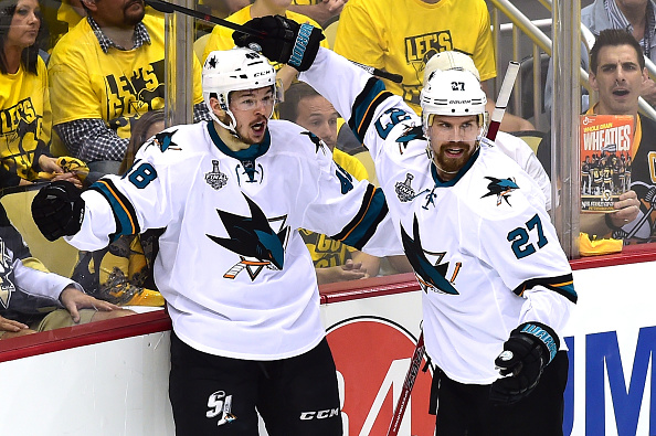 PITTSBURGH, PA - MAY 30: Tomas Hertl #48 of the San Jose Sharks celebrates with Joonas Donskoi #27 after scoring a second period goal against Matt Murray #30 of the Pittsburgh Penguins (not pictured) in Game One of the 2016 NHL Stanley Cup Final at Consol Energy Center on May 30, 2016 in Pittsburgh, Pennsylvania. (Photo by Matt Kincaid/Getty Images)