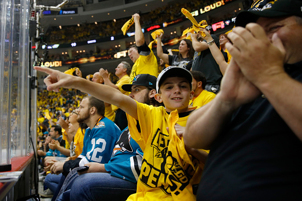 PITTSBURGH, PA - MAY 30: A young Pittsburgh Penguins fan gestures during the first period in Game One of the 2016 NHL Stanley Cup Final between the Pittsburgh Penguins and the San Jose Sharks at Consol Energy Center on May 30, 2016 in Pittsburgh, Pennsylvania. (Photo by Justin K. Aller/Getty Images)
