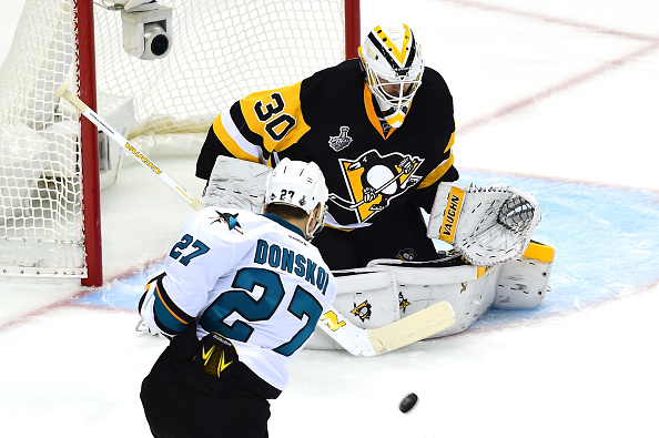 PITTSBURGH, PA - MAY 30:  Matt Murray #30 of the Pittsburgh Penguins makes a save against Joonas Donskoi #27 of the San Jose Sharks during the second period in Game One of the 2016 NHL Stanley Cup Final at Consol Energy Center on May 30, 2016 in Pittsburgh, Pennsylvania.  (Photo by Matt Kincaid/Getty Images)