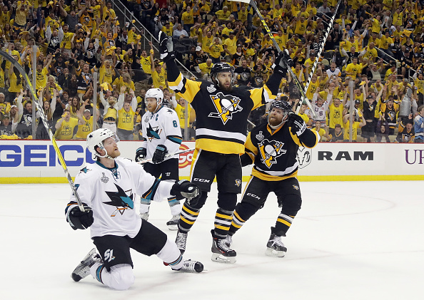 PITTSBURGH, PA - MAY 30: Nick Bonino #13 of the Pittsburgh Penguins celebrates after scoring a third period goal against Martin Jones #31 of the San Jose Sharks (not pictured) in Game One of the 2016 NHL Stanley Cup Final at Consol Energy Center on May 30, 2016 in Pittsburgh, Pennsylvania. (Photo by Bruce Bennett/Getty Images)