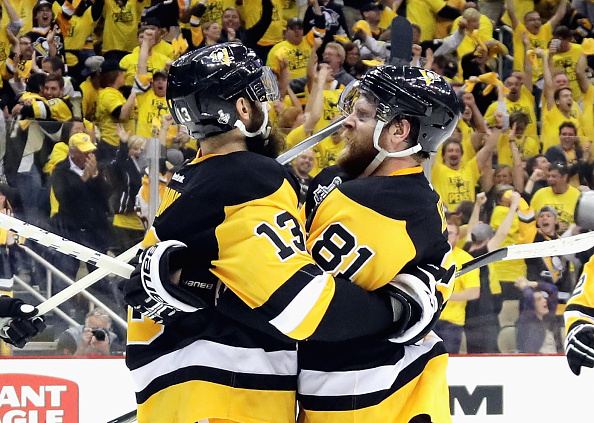 PITTSBURGH, PA - MAY 30: Nick Bonino #13 of the Pittsburgh Penguins celebrates with Phil Kessel #81 after scoring a third period goal against the San Jose Sharks in Game One of the 2016 NHL Stanley Cup Final at Consol Energy Center on May 30, 2016 in Pittsburgh, Pennsylvania. (Photo by Bruce Bennett/Getty Images)