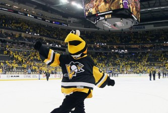 PITTSBURGH, PA - MAY 30:  Pittsburgh Penguins mascot Iceburgh celebrates after the Penguins defeated the San Jose Sharks 3-2 in Game One of the 2016 NHL Stanley Cup Final at Consol Energy Center on May 30, 2016 in Pittsburgh, Pennsylvania.  (Photo by Bruce Bennett/Getty Images)