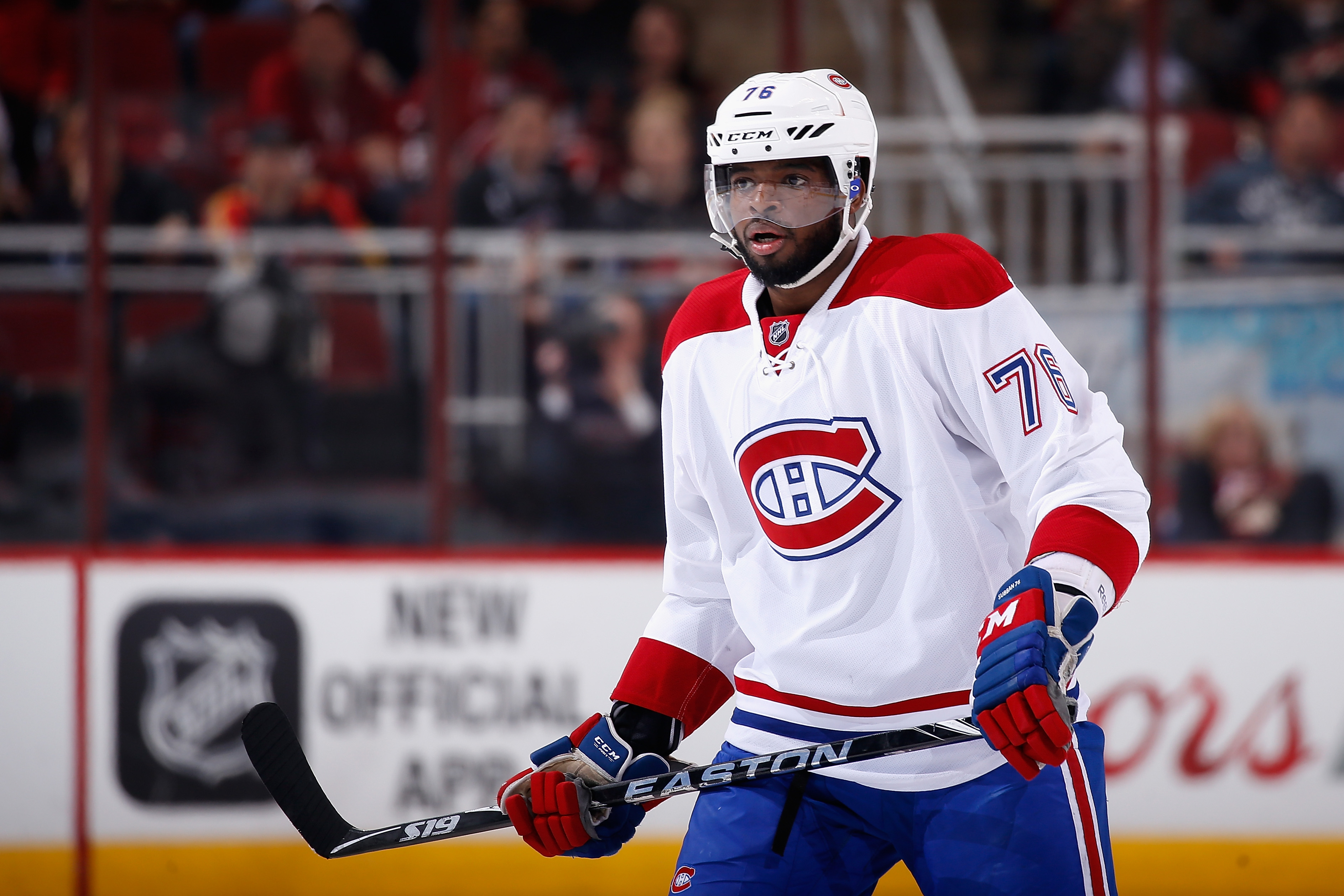 GLENDALE, AZ - FEBRUARY 15:  P.K. Subban #76 of the Montreal Canadiens during the NHL game against the Arizona Coyotes at Gila River Arena on February 15, 2016 in Glendale, Arizona.  The Coyotes defeated the Canadiens 6-2.  (Photo by Christian Petersen/Getty Images)