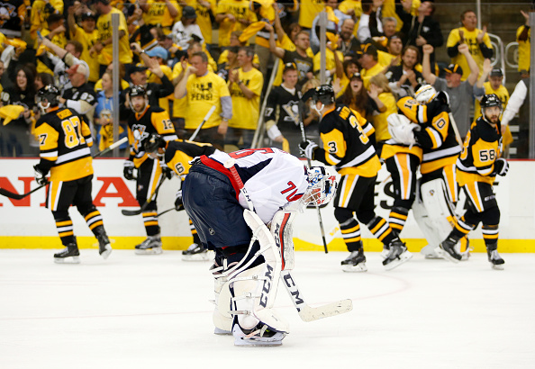 PITTSBURGH, PA - MAY 10:  Braden Holtby #70 of the Washington Capitals reacts after losing to the Pittsburgh Penguins in overtime 4-3 in Game Six of the Eastern Conference Second Round during the 2016 NHL Stanley Cup Playoffs at Consol Energy Center on May 10, 2016 in Pittsburgh, Pennsylvania.  (Photo by Justin K. Aller/Getty Images)