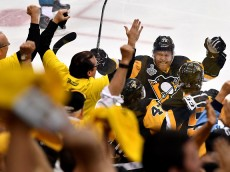 PITTSBURGH, PA - JUNE 01:  Patric Hornqvist #72 of the Pittsburgh Penguins celebrates after Conor Sheary #43 scored the game-winning goal against Martin Jones #31 of the San Jose Sharks (not pictured) to win 2-1 in overtime during Game Two of the 2016 NHL Stanley Cup Final at Consol Energy Center on June 1, 2016 in Pittsburgh, Pennsylvania.  (Photo by Jamie Sabau/Getty Images)