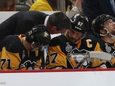 during Game One of the 2016 NHL Stanley Cup Final at Consol Energy Center on May 30, 2016 in Pittsburgh, Pennsylvania. The Penguins defeated the Sharks 3-2.
