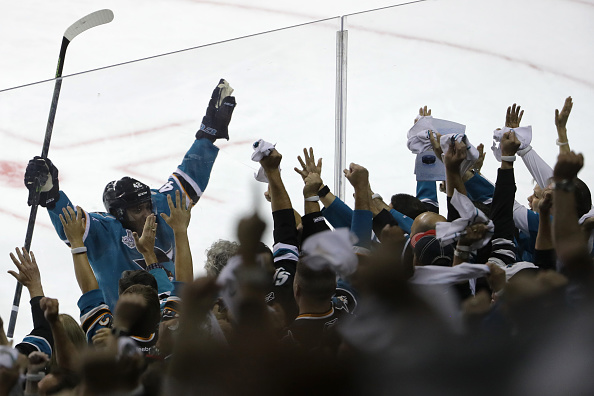 SAN JOSE, CA - JUNE 04: Joel Ward #42 of the San Jose Sharks celebrates his goal against the Pittsburgh Penguins during the third period in Game Three of the 2016 NHL Stanley Cup Final at SAP Center on June 4, 2016 in San Jose, California. (Photo by Bruce Bennett/Getty Images)