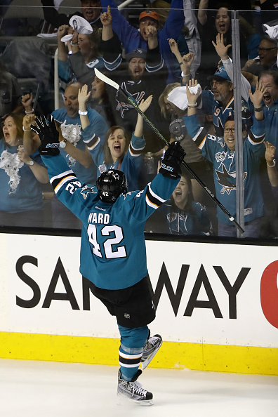 SAN JOSE, CA - JUNE 04: Joel Ward #42 of the San Jose Sharks celebrates his goal against the Pittsburgh Penguins during the third period in Game Three of the 2016 NHL Stanley Cup Final at SAP Center on June 4, 2016 in San Jose, California. (Photo by Ezra Shaw/Getty Images)