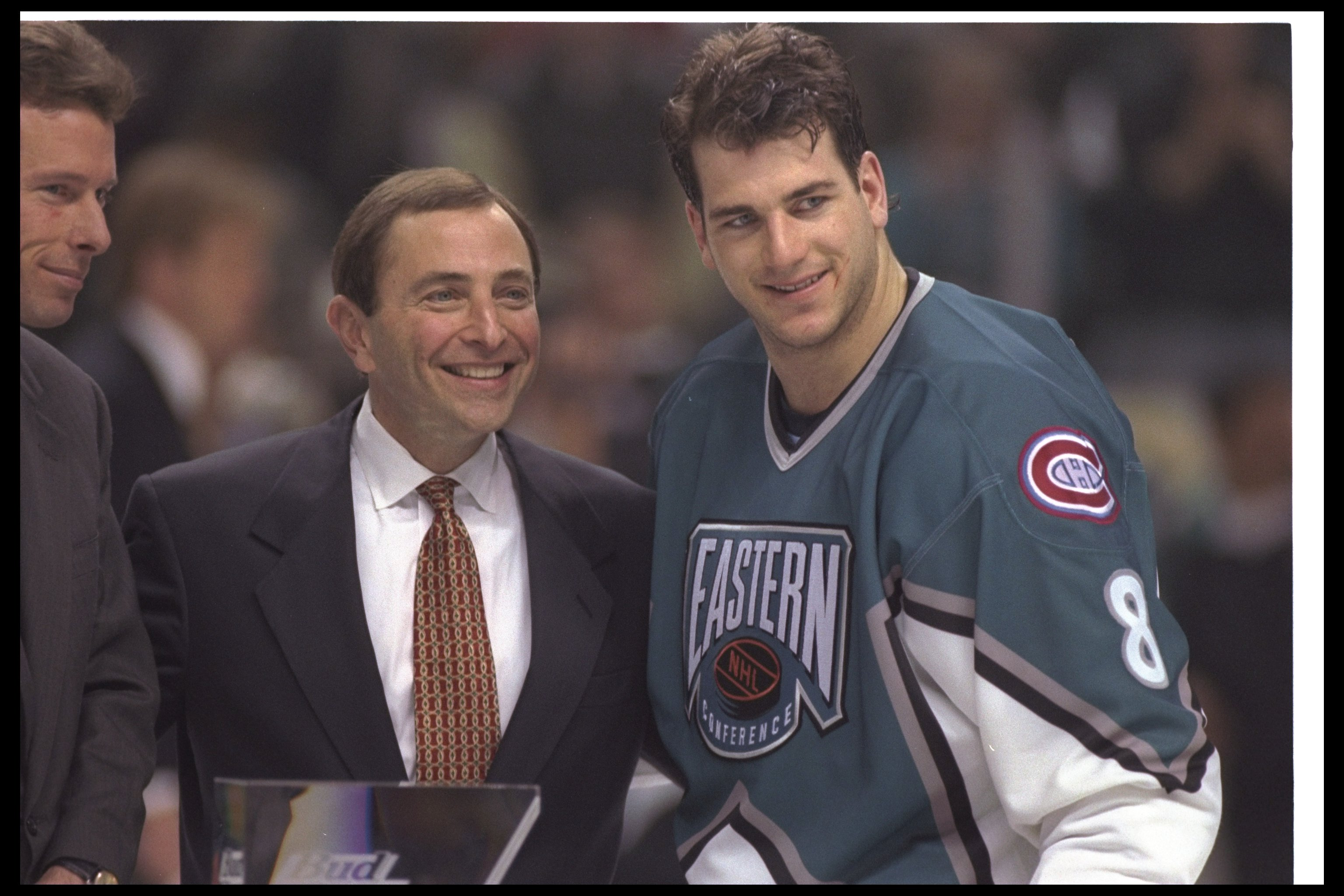 18 Jan 1997:  NHL Commissioner Gary Bettman and rightwinger Mark Recchi of the Montreal Canadiens take a photo opportunity as Mark is named the Most Valuable Player of the 47th NHL All-Star game at the San Jose Arena in San Jose, California. Mandatory Cre