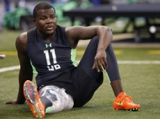 INDIANAPOLIS, IN - FEBRUARY 27: Quarterback Cardale Jones of Ohio State sits out with an injury during the 2016 NFL Scouting Combine at Lucas Oil Stadium on February 27, 2016 in Indianapolis, Indiana. (Photo by Joe Robbins/Getty Images)