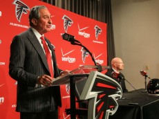 FLOWERY BRANCH, GA - FEBRUARY 03: Atlanta Falcons owner, Arthur Blank, speaks to the media on behalf of new head coach, Dan Quinn, during a press conference at the Atlanta Falcons Training Facility on February 3, 2015 in Flowery Branch, Georgia.  (Photo by Daniel Shirey/Getty Images)