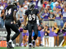 BALTIMORE, MD - SEPTEMBER 28:  Wide receiver Steve Smith #89 of the Baltimore Ravens celebrates after scoring a second quarter touchdown against the Carolina Panthers at M&T Bank Stadium on September 28, 2014 in Baltimore, Maryland.  (Photo by Larry French/Getty Images)
