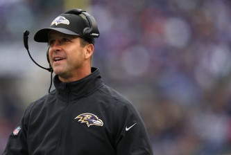 BALTIMORE, MD - NOVEMBER 22: Head coach John Harbaugh of the Baltimore Ravens looks on against the St. Louis Rams in the second quarter at M&T Bank Stadium on November 22, 2015 in Baltimore, Maryland. (Photo by Patrick Smith/Getty Images)