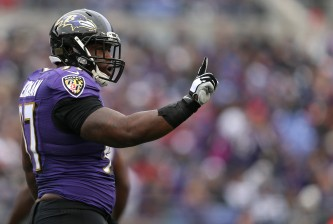 BALTIMORE, MD - NOVEMBER 22: Defensive end Timmy Jernigan #97 of the Baltimore Ravens reacts after a play against the St. Louis Rams in the first quarter at M&T Bank Stadium on November 22, 2015 in Baltimore, Maryland. (Photo by Patrick Smith/Getty Images)