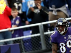 BALTIMORE, MD - NOVEMBER 1: Wide receiver Steve Smith #89 of the Baltimore Ravens is introduced before a game against the San Diego Chargers at M&T Bank Stadium on November 1, 2015 in Baltimore, Maryland. (Photo by Matt Hazlett/Getty Images)