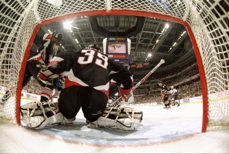 25 May 1998:  Goalie Dominik Hasek #39 of the Buffalo Sabres in action during the NHL East Final game 2 against the Washington Capitals at the MCI Center in Washington, D.C.. The Capitals defeated the Sabres 3-2 in overtime. Mandatory Credit: Robert Laberge  /Allsport