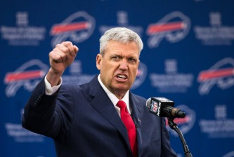 ORCHARD PARK, NY - JANUARY 14:  Rex Ryan speaks at a press conference announcing his arrival as head coach of the Buffalo Bills on January 14, 2015 at Ralph Wilson Stadium in Orchard Park, New York.  (Photo by Brett Carlsen/Getty Images) *** Local Caption *** Rex Ryan