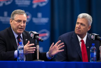 ORCHARD PARK, NY - JANUARY 14:  Terry Pegula, owner of the Buffalo Bills, speaks at a press conference announcing Rex Ryan's arrival as head coach of the Buffalo Bills on January 14, 2015 at Ralph Wilson Stadium in Orchard Park, New York.  (Photo by Brett Carlsen/Getty Images)