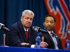 ORCHARD PARK, NY - JANUARY 14: Rex Ryan speaks while manager Doug Whaley (R) listens at a press conference announcing Rex Ryan's arrival as head coach of the Buffalo Bills on January 14, 2015 at Ralph Wilson Stadium in Orchard Park, New York. (Photo by Brett Carlsen/Getty Images)