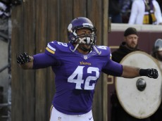 MINNEAPOLIS, MN - NOVEMBER 2: Jerome Felton #42 of the Minnesota Vikings runs onto the field before the game against the Washington Redskins on November 2, 2014 at TCF Bank Stadium in Minneapolis, Minnesota. (Photo by Hannah Foslien/Getty Images)