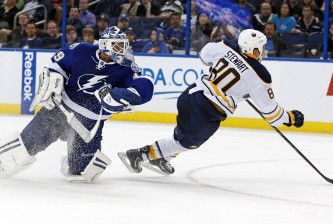 TAMPA, FL - MARCH 6:  Chris Stewart #80 of the Buffalo Sabres collides with goalie Anders Lindback #39 of the Tampa Bay Lightning at the Tampa Bay Times Forum on March 6, 2014 in Tampa, Florida. (Photo by Mike Carlson/Getty Images)