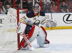 SUNRISE, FL - MARCH 7: Michal Neuvirth #34 of the Buffalo Sabres defends the net against the Florida Panthers during first period action at the BB&T Center on March 7, 2014 in Sunrise, Florida. The Panthers defeated the Sabres 2-0. (Photo by Joel Auerbach/Getty Images)