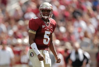 TALLAHASSEE, FL - APRIL 12:  Jameis Winston #5 of the Garnet team reacts to a pass against the Gold team during Florida State's Garnet and Gold spring game at Doak Campbell Stadium on April 12, 2014 in Tallahassee, Florida.  (Photo by Stacy Revere/Getty Images)