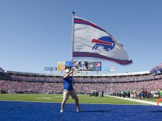 ORCHARD PARK, NY - OCTOBER 09:   Fans celebrate and the end zone flag is waived after a touchdown scored by Freddie Jackson #22 of the Buffalo Bills against the Philadelphia Eagles at Ralph Wilson Stadium on October 9, 2011 in Orchard Park, New York.  (Photo by Brody Wheeler/Getty Images)