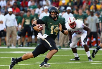 WACO, TX - AUGUST 31:  Bryce Petty #14 of the Baylor Bears runs the ball against the Southern Methodist Mustangs at McLane Stadium on August 31, 2014 in Waco, Texas.  (Photo by Ronald Martinez/Getty Images)