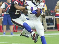 HOUSTON, TX- SEPTEMBER 28: Sammy Watkins #14 of the Buffalo Bills catches a touchdown pass against Darryl Morris #26 of the Houston Texans in the second quarter in a NFL game on September 28, 2014 at NRG Stadium in Houston, Texas. (Photo by Thomas B. Shea/Getty Images)