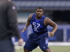 INDIANAPOLIS, IN - FEBRUARY 20: Offensive lineman Laken Tomlinson of Duke in action during the 2015 NFL Scouting Combine at Lucas Oil Stadium on February 20, 2015 in Indianapolis, Indiana. (Photo by Joe Robbins/Getty Images)