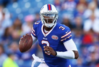 ORCHARD PARK, NY - AUGUST 28:  EJ Manuel #3 of the Buffalo Bills looks to throw against the Detroit Lions during the first half of a preseason game at Ralph Wilson Stadium on August 28, 2014 in Orchard Park, New York.  (Photo by Vaughn Ridley/Getty Images)