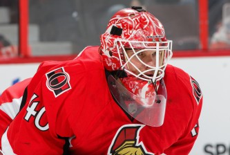 OTTAWA, ON - FEBRUARY 14: Robin Lehner #40 of the Ottawa Senators follows the play against the Edmonton Oilers at Canadian Tire Centre on February 14, 2015 in Ottawa, Ontario, Canada.  (Photo by Jana Chytilova/Freestyle Photography/Getty Images)