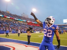 ORCHARD PARK, NY - DECEMBER 14:   Fred Jackson #22 of the Buffalo Bills celebrates after beating the Green Bay Packers at Ralph Wilson Stadium on December 14, 2014 in Orchard Park, New York.  (Photo by Brett Carlsen/Getty Images)