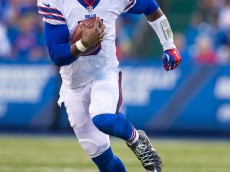 ORCHARD PARK, NY - AUGUST 14:  Tyrod Taylor #5 of the Buffalo Bills scrambles during the first half against the Carolina Panthers on August 14, 2015 during a preseason game at Ralph Wilson Stadium in Orchard Park, New York.  (Photo by Brett Carlsen/Getty Images) *** Local Caption *** Tyrod Taylor