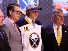 PHILADELPHIA, PA - JUNE 27:  Sam Reinhart is selected second overall by the Buffalo Sabres in the first round of the 2014 NHL Draft at the Wells Fargo Center on June 27, 2014 in Philadelphia, Pennsylvania.  (Photo by Mitchell Leff/Getty Images)