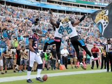 JACKSONVILLE, FL - OCTOBER 18:    Allen Robinson #15 of the Jacksonville Jaguars celebrates with  Allen Hurns #88 following a touchdown against the Houston Texans at EverBank Field on October 18, 2015 in Jacksonville, Florida.  (Photo by Sam Greenwood/Getty Images)