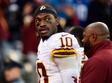 EAST RUTHERFORD, NJ - DECEMBER 14:  Robert Griffin III #10 of the Washington Redskins looks on in the first half against the New York Giants during their game at MetLife Stadium on December 14, 2014 in East Rutherford, New Jersey.  (Photo by Alex Goodlett/Getty Images)