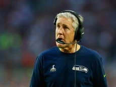 GLENDALE, AZ - FEBRUARY 01: Head coach Pete Carroll of the Seattle Seahawks looks on from the sideline in the second quarter against the New England Patriots during Super Bowl XLIX at University of Phoenix Stadium on February 1, 2015 in Glendale, Arizona.  (Photo by Kevin C. Cox/Getty Images)