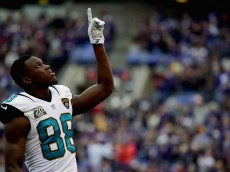 BALTIMORE, MD - DECEMBER 14: Wide receiver Allen Hurns #88 of the Jacksonville Jaguars points to the sky before a game against the Baltimore Ravens at M&T Bank Stadium on December 14, 2014 in Baltimore, Maryland.  (Photo by Patrick Smith/Getty Images)