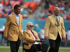 MIAMI GARDENS, FL - DECEMBER 21:  Miami Dolphins greats (L to R) Dan Marino Don Shula and Larry Csonka are shown on the field before the Dolphins met the Minnesota Vikings in a game at Sun Life Stadium on December 21, 2014 in Miami Gardens, Florida.  (Photo by Rob Foldy/Getty Images)