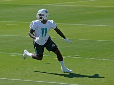 DeVante Parker works at Dolphins OTA practices