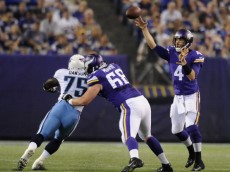 MINNEAPOLIS, MN - AUGUST 29: McLeod Bethel-Thompson #4 of the Minnesota Vikings passes the football during the second quarter of the game against the Tennessee Titans on August 29, 2013 at Mall of America Field at the Hubert H. Humphrey Metrodome in Minneapolis, Minnesota. (Photo by Hannah Foslien/Getty Images)