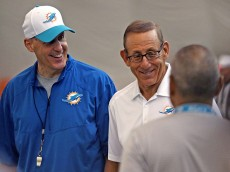 Miami Dolphins coach Joe Philbin and owner Stephen Ross on Thursday, July 30, 2015, the first day of the Dolphins' pre-season training for the 2015 NFL season. (Charles Trainor Jr./Miami Herald/TNS via Getty Images)