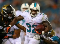 JACKSONVILLE, FL - AUGUST 09:  Jonas Gray #32 of the Miami Dolphins rushes during a preseason game against the Jacksonville Jaguars at EverBank Field on August 9, 2013 in Jacksonville, Florida.  (Photo by Mike Ehrmann/Getty Images)