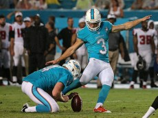 MIAMI GARDENS, FL - AUGUST 29: Andrew Franks #3 of the Miami Dolphins kicks a field goal during a preseason game against the Atlanta Falcons at Sun Life Stadium on August 29, 2015 in Miami Gardens, Florida.  (Photo by Mike Ehrmann/Getty Images)